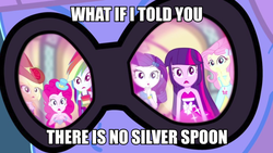 Size: 1078x608 | Tagged: a photo booth story, applejack, eqg summertime shorts, equestria girls, fluttershy, image macro, implied silver spoon, mane six, meme, morpheus, photo finish, pinkie pie, rainbow dash, rarity, reflection, safe, screencap, the matrix, twilight sparkle, what if i told you