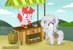 Size: 2780x1902 | Tagged: artist:raspberrystudios, bat pony, berries, cart, chibi, commission, oc, oc:lily, oc only, oc:wibbly, safe, unicorn