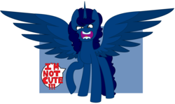 Size: 3080x1840 | Tagged: alicorn, alicorn oc, angry, artist:sammiemae227, blatant lies, cute, female, i'm not cute, inside joke, looking at you, mare, oc, oc:midnight, oc only, open mouth, pony, safe, solo, yelling, you're going to love me
