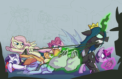 Size: 5100x3300 | Tagged: absurd res, alicorn, artist:zanefir-dran, clone, clone six, daddy discord, discord, earth pony, evil rainbow dash, eyes closed, former queen chrysalis, glowing horn, greed, groceries, levitation, magic, mane six, mean applejack, mean fluttershy, mean pinkie pie, mean rainbow dash, mean rarity, mean six, mean twilight sparkle, mommy chrissy, pegasus, pony, queen chrysalis, safe, screwball, skellinore, telekinesis, the break up breakdown, the mean 6, unicorn