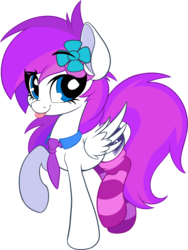 Size: 2465x3273 | Tagged: artist:sharemyshipment, clothes, cute, female, flower, flower in hair, mare, necktie, oc, oc:lavanda, oc only, pegasus, pony, safe, simple background, socks, solo, stockings, striped socks, thigh highs, tongue out, transparent background