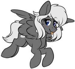 Size: 2749x2538 | Tagged: safe, artist:hellishprogrammer, oc, oc:silver bullet, pegasus, pony, female, high res, mare, simple background, solo, tongue out, transparent background