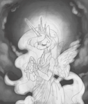 Size: 1689x1989 | Tagged: safe, artist:pixieshark, princess celestia, alicorn, semi-anthro, clothes, dress, female, grayscale, monochrome, sketch, solo