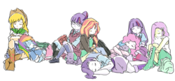 Size: 1480x684 | Tagged: safe, artist:sajuaira, angel bunny, applejack, fluttershy, pinkie pie, rainbow dash, rarity, sci-twi, spike, spike the regular dog, sunset shimmer, twilight sparkle, alicorn, dog, rabbit, equestria girls, backpack, boots, clothes, compression shorts, cowboy hat, crystal prep academy uniform, cute, denim skirt, female, glasses, hat, high heel boots, humane five, humane seven, humane six, leg warmers, male, mane six, pixiv, school uniform, shoes, shorts, simple background, skirt, sleeping, spike the dog, stetson, twilight sparkle (alicorn), weapons-grade cute, white background