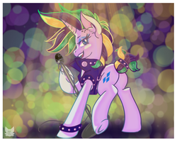 Size: 1500x1200   Tagged: safe, artist:cckittycreative, rarity, pony, alternate hairstyle, bracelet, clothes, female, jacket, jewelry, leather jacket, looking at you, mare, microphone, music notes, plot, punk, raripunk, spiked wristband, wristband