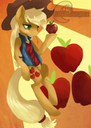 Size: 1024x1428 | Tagged: apple, applejack, applejack's hat, artist:xxmoondropsxx, clothes, cowboy hat, cutie mark, cutie mark background, female, freckles, hat, lidded eyes, mare, obligatory apple, safe, semi-anthro, sleeveless, solo, straw in mouth