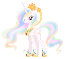 Size: 2280x2084 | Tagged: safe, artist:ilaria122, princess celestia, alicorn, pony, ear piercing, earring, ethereal mane, halo, jewelry, necklace, older, older princess celestia, piercing, queen celestia, regalia, simple background, starry mane, transparent background