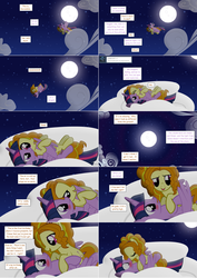 Size: 2564x3620 | Tagged: safe, artist:hakunohamikage, adagio dazzle, twilight sparkle, alicorn, pony, ask-princesssparkle, adagilight, blushing, female, flying, high res, kissing, lesbian, moon, night, ponified, ponyville, scrunchy face, shipping, twilight sparkle (alicorn)
