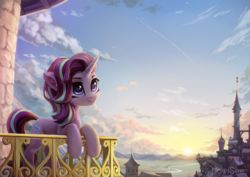 Size: 2121x1500 | Tagged: safe, artist:inowiseei, starlight glimmer, pony, unicorn, architecture, balcony, building, canterlot, castle, cloud, cloudy, contrail, cute, detailed hair, detailed mane, female, fluffy, glimmerbetes, grass, grass field, hill, leaning, leaning forward, leaning on fence, leaning on something, looking up, mare, mountain, mountain range, neck fluff, river, roof, scenery, sky, smiling, solo, sun, sunrise, sunset, tower