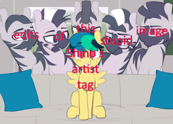 Size: 1280x920 | Tagged: safe, artist:shinodage, edit, editor:moonatik, oc, oc only, oc:apogee, pegasus, pony, zebra, :o, bedroom eyes, couch, cute, eyes on the prize, female, filly, freckles, glasses, grin, imminent foalcon, imminent sex, lidded eyes, looking at you, male, meme, meta, open mouth, pillow, piper perri surrounded, sitting, smiling, smirk, squee, stallion, text, zebradom
