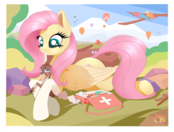 Size: 7004x5340 | Tagged: safe, artist:nevobaster, fluttershy, bird, butterfly, deer, parrot, pegasus, pony, absurd resolution, bandage, clothes, colored wings, crimson rosella, cute, doe, female, first aid, first aid kit, fluttermom, flutternurse, gloves, hot air balloon, injured, kindness, looking at each other, mare, medicine, mouth hold, prone, scissors, shyabetes, solo, wings