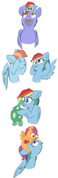 Size: 2584x7874 | Tagged: safe, artist:chub-wub, bow hothoof, rainbow dash, scootaloo, tank, windy whistles, pegasus, pony, :p, cross-eyed, cute, cutealoo, dashabetes, derp, eye contact, eyes closed, father and daughter, female, filly, filly rainbow dash, floppy ears, licking, lidded eyes, looking at each other, looking up, making faces, male, mare, mother and daughter, ponies riding ponies, pony hat, rainbow dash riding rainbow blaze, raspberry, riding, scootahat, scootaloo riding rainbow dash, scootalove, silly, silly face, silly pony, simple background, smiling, smirk, spread wings, stallion, tongue out, white background, windybetes, wings, younger
