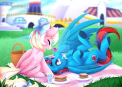 Size: 1024x731 | Tagged: safe, artist:scarlet-spectrum, oc, oc only, oc:andrew swiftwing, oc:bay breeze, pegasus, pony, bow, canterlot, couple, cute, eyes closed, female, food, hair bow, happy, male, mouth hold, obstructive watermark, picnic, straight, swiftbreeze, tail bow, watermark