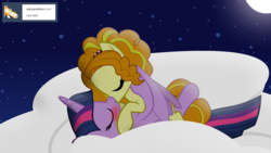 Size: 1280x720 | Tagged: safe, artist:hakunohamikage, adagio dazzle, twilight sparkle, alicorn, pony, ask-princesssparkle, adagilight, blushing, cloud, female, kissing, lesbian, moon, night, ponified, shipping, twilight sparkle (alicorn)