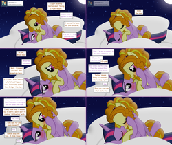 Size: 2564x2168 | Tagged: safe, artist:hakunohamikage, adagio dazzle, twilight sparkle, alicorn, pony, ask-princesssparkle, adagilight, blushing, cloud, comic, female, high res, kissing, lesbian, moon, night, ponified, shipping, twilight sparkle (alicorn)