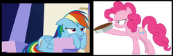 Size: 561x183 | Tagged: safe, pinkie pie, rainbow dash, derpibooru, season 5, season 7, secrets and pies, the lost treasure of griffonstone, food, google images, juxtaposition, juxtaposition win, meme, meta, pie