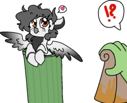 Size: 727x589 | Tagged: safe, artist:nootaz, oc, oc only, oc:anon, pegasus, pony, seagull, exclamation point, heart, interrobang, pictogram, question mark, simple background, spread wings, transparent background, wings