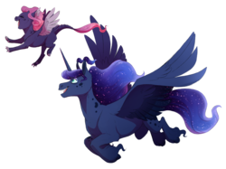 Size: 1024x764 | Tagged: safe, artist:vindhov, princess luna, oc, oc:noctis, alicorn, dracony, hybrid, pony, digital art, duo, ethereal mane, female, filly, flying, happy, interspecies offspring, mare, mother and daughter, next generation, offspring, open mouth, parent:princess luna, parent:spike, parents:spiluna, simple background, starry mane, transparent background, unshorn fetlocks
