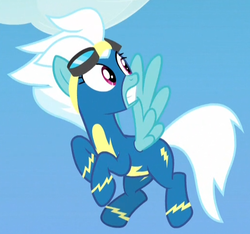 Size: 519x485   Tagged: safe, screencap, fleetfoot, pony, parental glideance, clothes, cloud, cropped, female, goggles, open mouth, sky, solo, startled, uniform, wonderbolts, wonderbolts uniform