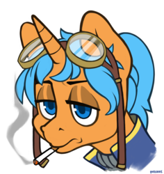 Size: 3565x3783 | Tagged: artist:bitchiie, cigarette, fallout, fallout equestria, food, goggles, male, mango, oc, oc:eissen, safe, smoking, stallion, unicorn