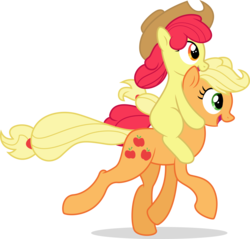 Size: 7208x6889 | Tagged: absurd res, accessory swap, apple bloom, applejack, artist:illumnious, artist:kp-shadowsquirrel, cowboy hat, duo, earth pony, filly, hat, open mouth, ponies riding ponies, pony, running, safe, siblings, simple background, sisters, stetson, transparent background, vector