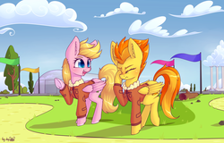 Size: 4492x2880   Tagged: safe, alternate version, artist:dsp2003, spitfire, oc, oc:lucky doo, pegasus, pony, blushing, bomber jacket, bush, clothes, cloud, commission, duo, facehoof, female, femboy, girly, hangar, jacket, male, mare, signature, spitcky, stallion, textless, tree