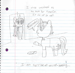 Size: 666x646 | Tagged: alicorn, artist:ask-rainlight-shine, clothes, cosplay, costume, grayscale, lined paper, magical lesbian spawn, mane dye, monochrome, oc, oc:rainlight shine, offspring, older, older twilight, parent:rainbow dash, parents:twidash, parent:twilight sparkle, safe, text, traditional art, twilight sparkle, twilight sparkle (alicorn)