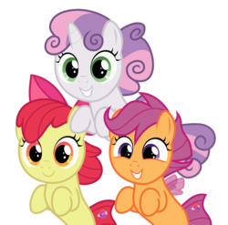 Size: 3034x3000 | Tagged: apple bloom, artist:sollace, cute, cutie mark crusaders, safe, scootaloo, sea-mcs, seaponified, seapony apple bloom, seapony (g4), seapony scootaloo, seapony sweetie belle, simple background, species swap, surf and/or turf, .svg available, sweetie belle, transparent background, trio, vector