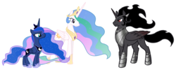 Size: 1010x405 | Tagged: safe, king sombra, princess celestia, princess luna, pony, alternate universe, armor, celestibra, celumbra, crown, cutie mark, diplomacy, ethereal mane, female, hoof shoes, implied celestibra, implied celumbra, implied lumbra, implied polyamory, implied shipping, jewelry, king sombra gets all the mares, lumbra, male, mane, mare, meeting, peytral, regalia, serious, shipping, shipping fuel, sombracorn, stallion, starry mane, stoic, straight, trio