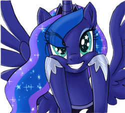 Size: 1280x1158 | Tagged: safe, artist:pencils, edit, editor:childofthenight, princess luna, alicorn, pony, background removed, cute, eye clipping through hair, female, grin, hoof shoes, lunabetes, mare, simple background, smiling, solo, spread wings, squishy cheeks, starry eyes, transparent background, wingding eyes
