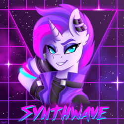 Size: 3000x3000 | Tagged: safe, artist:ciderpunk, oc, oc only, oc:synthwave, unicorn, 80s, aesthetics, bust, clothes, cyberpunk, dreamworks face, ear piercing, earring, eyeshadow, glowstick, grid, jacket, jewelry, makeup, piercing, retro, retrowave, solo, synthwave