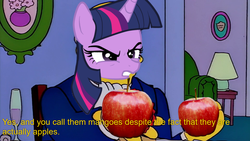 Size: 1920x1080 | Tagged: angry, apple, food, implied applejack, lamp, meme, safe, scootertrix the abridged, steamed hams, the simpsons, twilight sparkle, unicorn