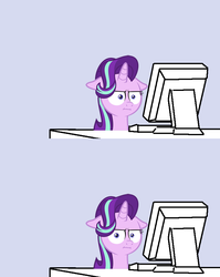 Size: 679x854 | Tagged: safe, artist:the smiling pony, starlight glimmer, pony, unicorn, marks for effort, :i, computer, desk, faic, female, floppy ears, glare, gray background, i mean i see, keyboard, lidded eyes, looking at something, looking at you, mare, meme, monitor, reaction image, simple background, solo, unamused, wide eyes