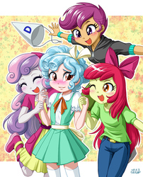 Size: 809x1000 | Tagged: safe, artist:uotapo, apple bloom, cozy glow, scootaloo, sweetie belle, equestria girls, marks for effort, adorabloom, blushing, boots, bow, clothes, cozybetes, cute, cutealoo, cutie mark crusaders, daaaaaaaaaaaw, diasweetes, dress, dunce hat, equestria girls-ified, eyes closed, female, hair bow, hat, holding hands, jacket, one eye closed, open mouth, pants, quartet, shirt, shoes, skirt, teary eyes, uotapo is trying to murder us, wink