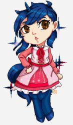 Size: 206x353 | Tagged: safe, artist:kamichu, oc, oc only, oc:starlight blossom, satyr, unicorn, cute, female, filly, lolita fashion, pixel art, satyrized, solo