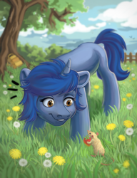 Size: 3072x4000 | Tagged: safe, artist:bisaco, oc, oc only, oc:starlight blossom, mouse, unicorn, backpack, female, fence, filly, grass, grass field, sky, solo, tree