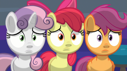Size: 1920x1080 | Tagged: safe, screencap, apple bloom, scootaloo, sweetie belle, earth pony, pegasus, pony, unicorn, marks for effort, cutie mark crusaders, discovery family logo, female, filly, logo, nervous, shading, spotlight, trio, worried