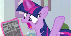 Size: 642x328 | Tagged: alicorn, discovery family logo, marks for effort, meme, newspaper, paper, safe, screencap, solo, spoiler:s08e12, the simpsons, twilight sparkle, twilight sparkle (alicorn), twilight sparkle's angry paper