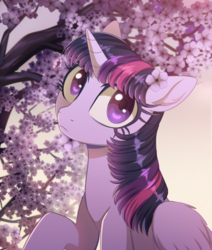 Size: 800x945 | Tagged: alicorn, artist:verawitch, cute, female, flower, flower in hair, looking at you, mare, pony, safe, solo, tree, twiabetes, twilight sparkle, twilight sparkle (alicorn)