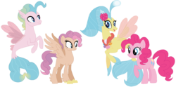 Size: 1330x660 | Tagged: safe, artist:margaretlovez, pinkie pie, princess skystar, oc, oc:dewdrop, oc:firefly, classical hippogriff, earth pony, hippogriff, pony, seapony (g4), my little pony: the movie, family, female, lesbian, magical lesbian spawn, male, mare, offspring, parent:pinkie pie, parent:princess skystar, parents:skypie, raised hoof, seashell necklace, shipping, simple background, skypie, spread wings, transparent background, wings