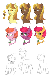 Size: 1817x2689 | Tagged: safe, artist:pikokko, oc, oc only, oc:maraschino cherry, oc:seed seeker (syd), alternate color palette, bust, cousins, offspring, parent:applejack, parent:big macintosh, parent:caramel, parent:cheerilee, parents:carajack, parents:cheerimac, simple background, white background
