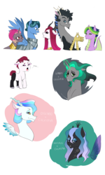 Size: 1500x2508 | Tagged: safe, artist:pikokko, oc, oc only, oc:chitin/morgenstern, oc:jade, oc:l'amour, oc:princess nebula, oc:riddle, changepony, draconequus, dracony, hybrid, pegasus, pony, armor, baby, bust, disguise, disguised changeling, draconequus oc, female, glasses, horns, interspecies offspring, magical lesbian spawn, male, mare, offspring, parent:discord, parent:king sombra, parent:lord tirek, parent:princess cadance, parent:princess celestia, parent:princess luna, parent:queen chrysalis, parent:shining armor, parent:spike, parent:twilight sparkle, parents:celestibra, parents:celestirek, parents:chryslestia, parents:dislestia, parents:lunacord, parents:shining chrysalis, parents:somdance, parents:twispike, simple background, stallion, white background