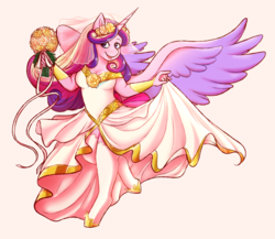 Size: 1280x1110 | Tagged: safe, artist:androgynousgarbage, princess cadance, alicorn, anthro, unguligrade anthro, bouquet, bride, clothes, dress, female, mare, simple background, smiling, socks, spread wings, stockings, thigh highs, wedding dress, wings