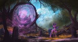 Size: 1910x1032 | Tagged: safe, artist:shamanguli, twilight sparkle, pony, unicorn, female, forest, frown, gravestone, graveyard, magic, mare, nature, open mouth, portal, raised hoof, scenery, scenery porn, solo, tree, unicorn twilight, wide eyes, worried