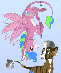 Size: 2500x3000 | Tagged: safe, artist:jackiebloom, oc, oc only, oc:disco inferno, oc:kinyume, hybrid, mule, zony, blue background, female, high res, magical lesbian spawn, male, mare, offspring, parent:daring do, parent:pinkie pie, parent:zecora, parents:daringcora, pegamule, simple background, tail ring, upside down