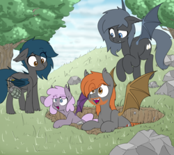 Size: 916x817 | Tagged: angelkindler, artist:victoreach, bat pony, concerned, family, female, foxhole, grandfather and grandchild, grandmother and grandchild, grenade, group, happy, mother and daughter, oc, oc:angel tears, oc:brick kindler, oc only, oc:sirocca, oc:speck, rock, safe, tree