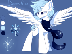 Size: 2000x1500 | Tagged: safe, artist:heddopen, oc, oc only, oc:diamond frost, pegasus, pony, clothes, ear fluff, male, reference sheet, scarf, spread wings, wings
