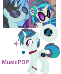 Size: 510x618 | Tagged: artist:superrosey16, dj pon-3, female, male, neon lights, oc, oc:musicpop, offspring, parent:neon lights, parents:vinylights, parent:vinyl scratch, rising star, safe, shipping, simple background, straight, transparent background, vinylights, vinyl scratch