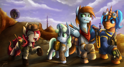 Size: 3357x1819 | Tagged: artist:jamescorck, clothes, desert, earth pony, eyes closed, fallout, fallout equestria, fanfic, fanfic art, female, filly, goggles, group, gun, hat, hooves, horn, laughing, magic, male, mare, oc, oc:appleale, oc:eissen, oc:sorren, oc:sweetwater, open mouth, pegasus, pipbuck, pony, saddle bag, safe, smiling, smirk, stable, stallion, the hopeful four, unicorn, vault suit, walking, wasteland, weapon, wings