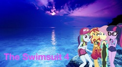 Size: 2048x1134   Tagged: safe, artist:php77, editor:php77, fluttershy, rainbow dash, sci-twi, sunset shimmer, twilight sparkle, pony, equestria girls, equestria girls series, cap, clothes, equestria girls in real life, geode of empathy, geode of fauna, geode of shielding, geode of sugar bombs, geode of super speed, geode of super strength, geode of telekinesis, hat, irl, magical geodes, photo, ponies in real life, sarong, swimsuit, wallpaper